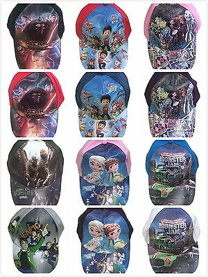 100% Cotton Kids Boy Girl Cap Paw Patrol, Monster Jam, Tmnt, Star Wars, Frozen