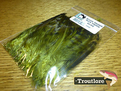 Olive Grizzly Variant Neck Hackle Hareline Dubbin - New Fly Tying Feathers
