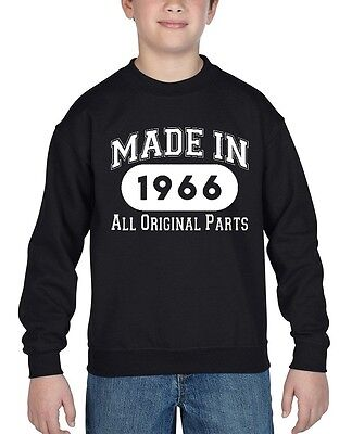 Made In 1966 Youth Crewneck All Original Parts 50th Birthday Gift Sweatshirts