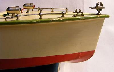 "Vintage TMY Battery Operated Wooden Toy Speed Boat 15.5"" Long"