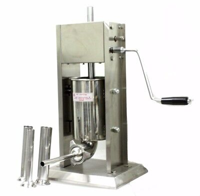 5L Vertical Commercial Home Sausage Stuffer 15LB 2 Speed Stainless Meat Press