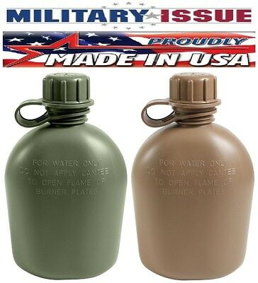 New Military Issue 1 Quart Canteen Olive Drab Or Coyote 3pc USA Made 605 936