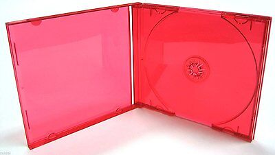 100 New Tranparent Red Cd Single Jewel Cases W/red Tray,bl110Pk-Red