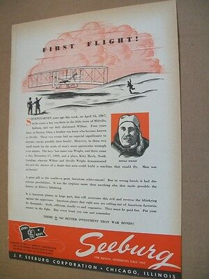 Seeburg phonographs WWII 1944 patriotic ad- Wright Brothers Orville first flight