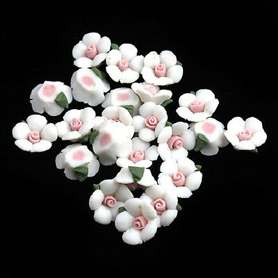 70pcs White Ceramic Flower Stick-on Embellishment Fit Jewelry Scrapbooking DIY D