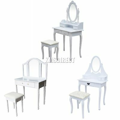 FoxHunter Makeup Dressing Table Set With Stool Drawer Mirror Jewelry Desk Wood