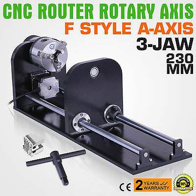 3-Jaw Rotary Attachment Cnc Router Rotary Axis With 80mm Tailstock Stainless