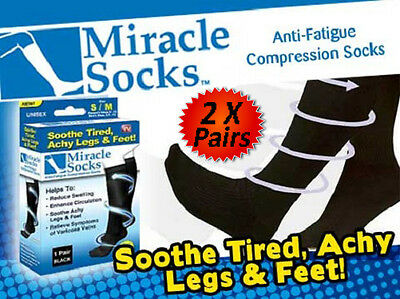 2X Pairs Compression Miracle Socks For Flight Travel Varicose Veins Aching Feet