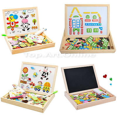 Baby Kid Wooden Toy Puzzle Activity Educational Easel Magnetic Drawing Board