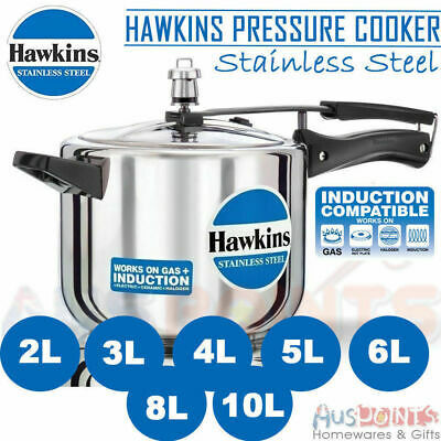 Hawkins Stainless Steel Pressure Cooker - 3L / 5L / 6L Litres Lid Cookware