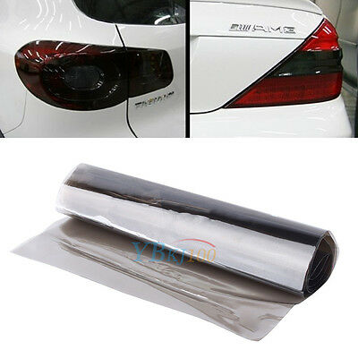 "Gloss Light Black Vinyl Film Tint 12"" x 39"" Headlight Taillight Fog Wrap Cover"