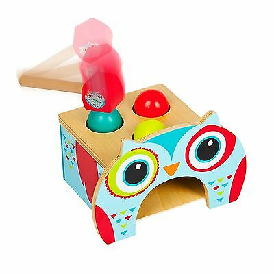 WOODEN OWL POUND & ROLL SORTER NEW TOY by LEOMARK