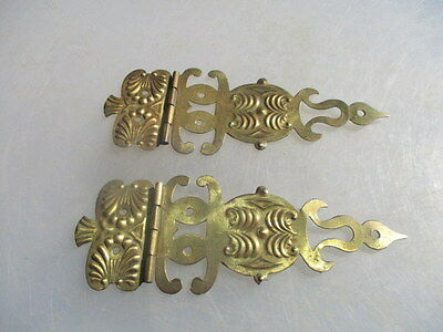 Vintage Brass Hinges Ornate Furniture Hardware Pair Decorative Shell Fan Old