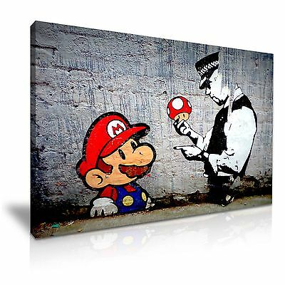 Bansky Mario and Cop Canvas Wall Art Picture Print ~ 9 Sizes