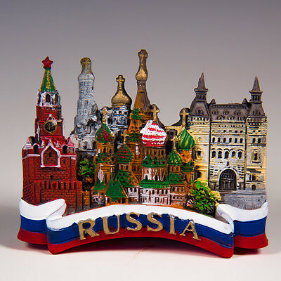 Resin Fridge Magnet: Russia. Collage with Russian Tricolor Banner