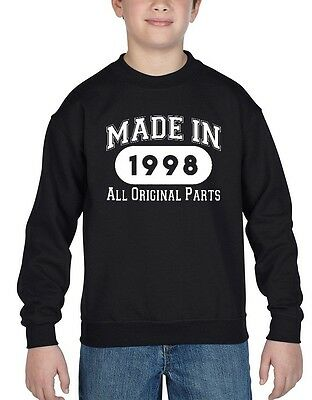 Made In 1998 Youth Crewneck All Original Parts 18th Birthday Gift Sweatshirts