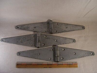 3 Vintage Antique Large Hinges Barn Door Gate Rustic Primitive Strap Hinges Old