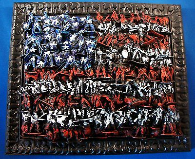 USA AMERICAN FLAG MADE OUT OF ARMY TOY SOLDIERS 14x12 WITH FRAME