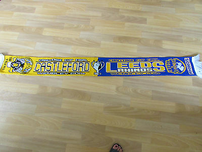 LEEDS Rhinos v CASTLEFORD Wembley Challenge Cup Final 2014 RUGBY League Scarf