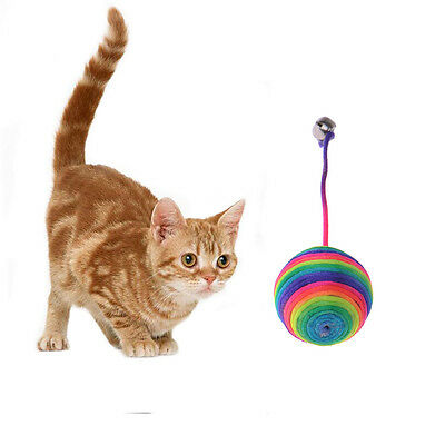 Pet Cat Kitty Playing Training Toy Colorful Rainbow Ball Dangle With Bell Funny