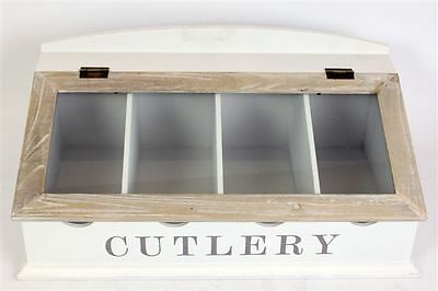 Large Vintage White Wooden Display Organiser Storage Cutlery Tray Box Glass Lid