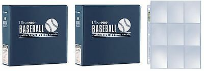 "Lot of 2 Ultra Pro 3"" Blue Baseball D-Ring Albums & new box 100 9 pocket pages"