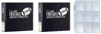 """Lot of 2 Ultra Pro 3"""" Black Football D-Ring Albums & new box 100 9 pocket pages"""