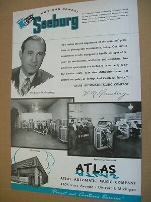 Seeburg phonographs 1945 Ad- salute to Atlas Automatic Music Co Detroit