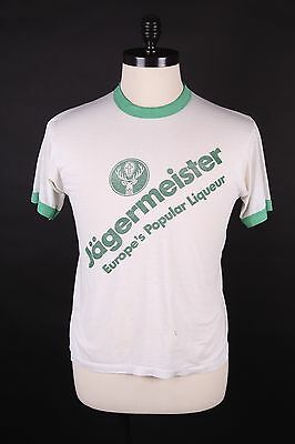 "Vtg 80S ""Jagermeister"" Burnout Thin Ringer T Shirt Mens Large"