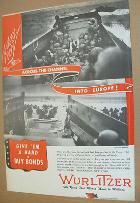 Wurlitzer phonograph WWII 1944 patriotic Ad- across the channel into Europe