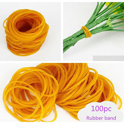 100pcs Office Home Yellow Rubber Bands Set Ponytail Holder Band Elastic Ties 3cm