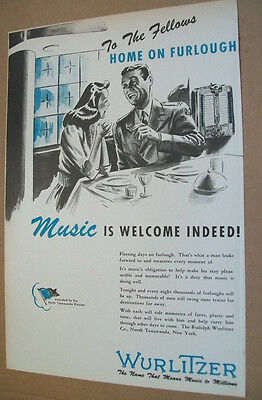 Wurlitzer phonograph WWII 1944 patriotic Ad-GI home on furlough/music is welcome
