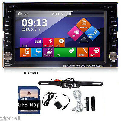 6.2'' GPS Double 2DIN HD Touchscreen SAT NAV Car Stereo Radio CD DVD+Free Camera