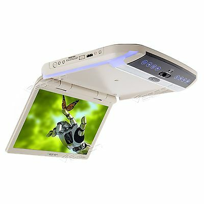 "L0146Z Tan 11.6""Thin Car Flip Down Monitor Roof Mounted HDMI Overhead Ceiling C"