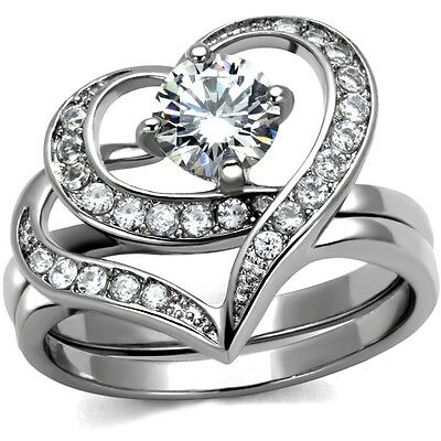 Size 4-12 Rhodium Plated Wedding Engagement Ring Heart Shape Anniversary Propose