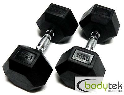 2 x 15Kg Hex Dumbbells Body Building Exercise Gym Bar Training Weights Fitness