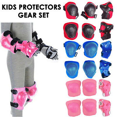 Set of 6 Children Protective Pad Kids Wrist Elbow Knee Protectors Gear Set UK