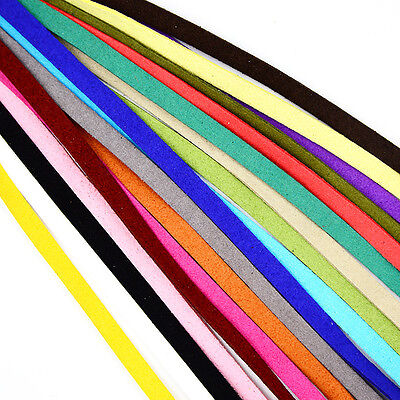 Faux Suede Leather Cord thong Lace Making String 3mm — 5mm — 18 Colors— 2 Length
