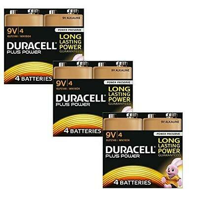 12-PK Duracell MN1604 Plus Power 9v Batteries 6LR61 PP3 Alkaline Smoke Alarm UK