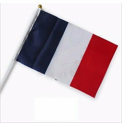 French Held Stick Small FLAGS Hand Table Flags Festivals Country Frency 10pcs