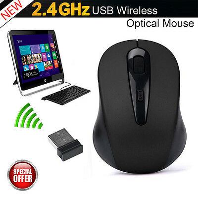 2.4GHz USB Dongle Wireless Cordless Optical Scroll Mouse for Computer PC Laptop