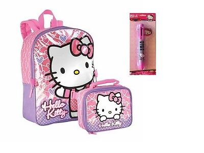 """Sanrio Hello Kitty Girls 16"""" School Backpack With Lunch Bag and Multi Color Pen"""