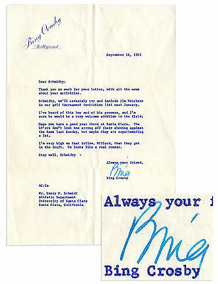 Bing Crosby Typed Letter Signed from 1965