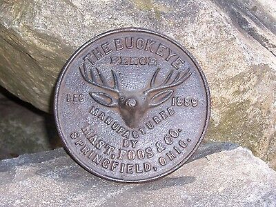 Antique Cast Iron Advertising SignThe Buckeye Fence Dec 1889 With Deer Logo