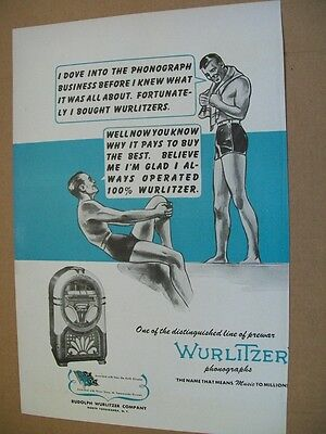 Wurlitzer phonograph 1945 Ad- it pays to buy the best/swimmers