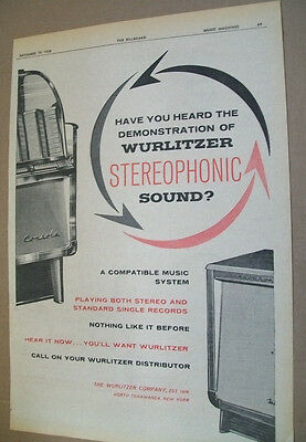 Wurlitzer Stereophonic phonograph 1958 Ad- have you heard the demonstration