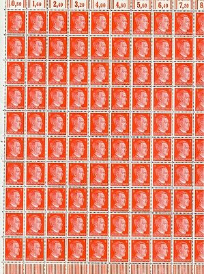Full And Complete German Wwii Hitler Head Stamp Sheet Of 100 Stamps 8 Rpf Value