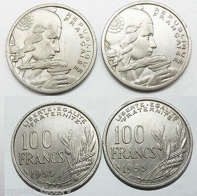lot de 2 pieces de 100 francs Cochet 1955 et 1955 B Cupro Nickel