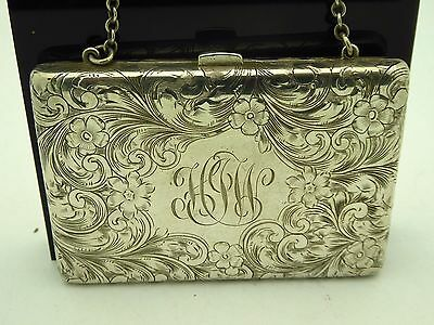 Antique Sterling Monogramed Engraved Chased Floral Signed LF Coin Card Case