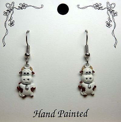 Hand Painted Brown and White Cow Charm Earrings